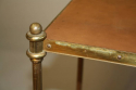 A small elegant two tier leather and brass side table. French c1950`s, stamped Hermes - picture 2