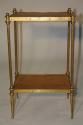 A small elegant two tier leather and brass side table. French c1950`s, stamped Hermes - picture 3