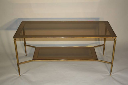 1950`s brass and glass two tier coffee table
