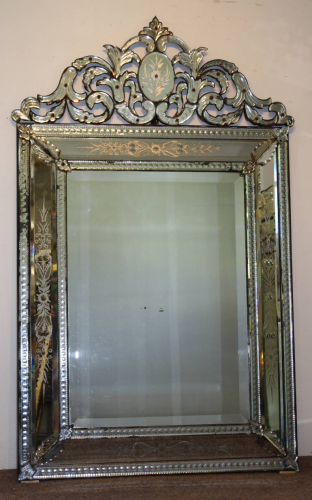 Antique Venetian mirror with pierced cartouche, C19th