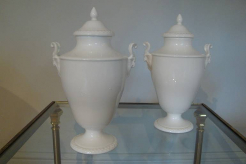 Victorian bone china pair of jardineers with curled horn Ram motif
