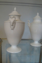 Victorian bone china pair of jardineers with curled horn Ram motif - picture 2
