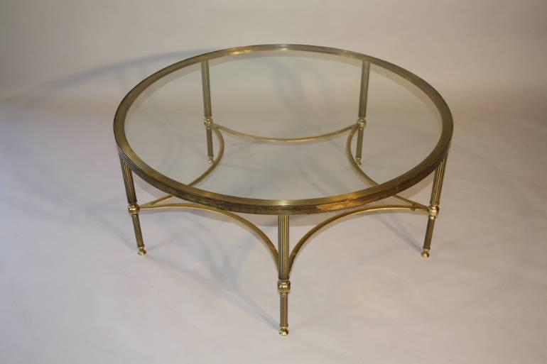 Circular brass and glass coffee table, English c1950