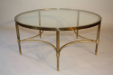 Circular brass and glass coffee table, English c1950 - picture 2
