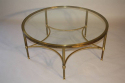 Circular brass and glass coffee table, English c1950 - picture 3