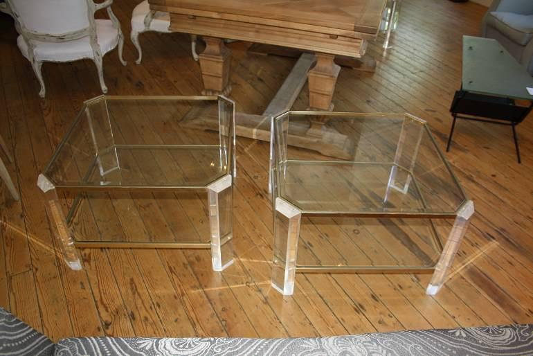 Pair of lucite and pale gold end tables, French c1970