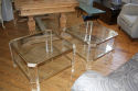 Pair of lucite and pale gold end tables, French c1970 - picture 2