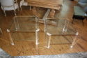 Pair of lucite and pale gold end tables, French c1970 - picture 3