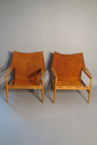 Hans Olsen, pair of Kinna design, orange suede armchairs, Sweden 1960