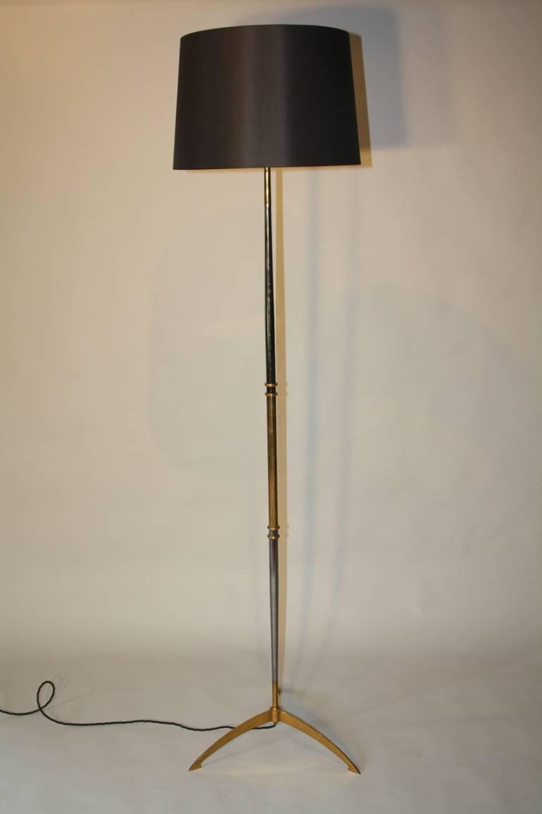 gun and gold metal tripod floor lamp in lighting. Black Bedroom Furniture Sets. Home Design Ideas