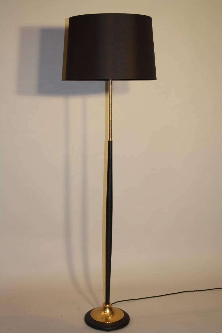 Black and gold metal floor lamp, c1950 French