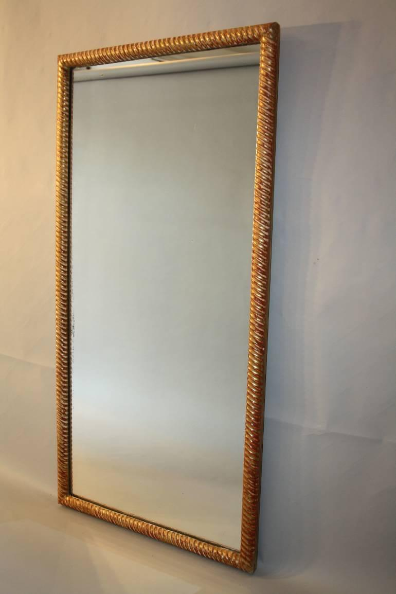 C19th rectangular rope twist mirror