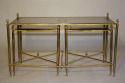 A gilt brass coffee table with two smaller end tables with mirror edged glass. French c1950 - picture 3