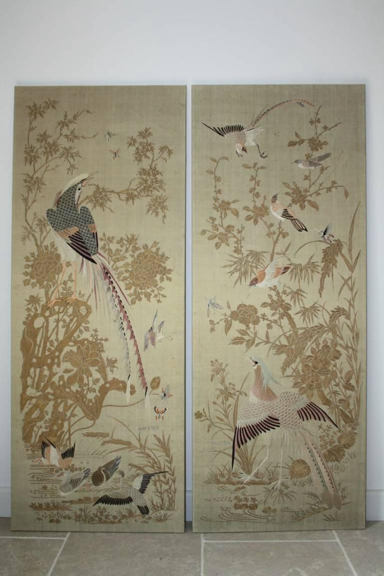 A pair of embroidered silk panels