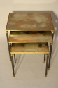 Nest of tables with unusual brown/orange/gold mirror glass. - picture 1
