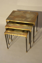 Nest of tables with unusual brown/orange/gold mirror glass. - picture 2