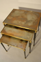 Nest of tables with unusual brown/orange/gold mirror glass. - picture 3
