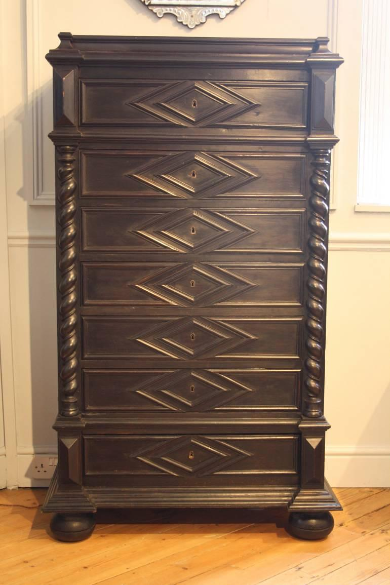Ebonised Semainier Chest of Drawers, French c1900