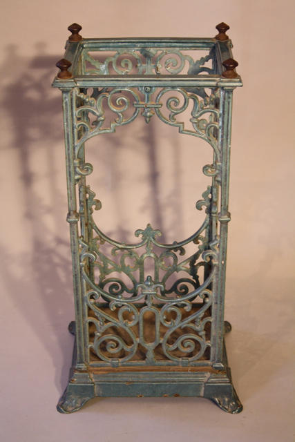 Turquoise enamelled umbrella/stick stand