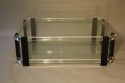 A large black and clear lucite two tier coffee table - picture 2