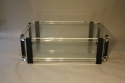 A large black and clear lucite two tier coffee table - picture 3