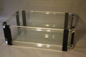 A large black and clear lucite two tier coffee table - picture 4
