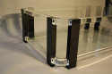 A large black and clear lucite two tier coffee table - picture 7