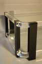 A large black and clear lucite two tier coffee table - picture 8