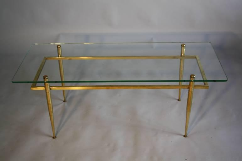 Italian gilt metal table with glass top, c1950