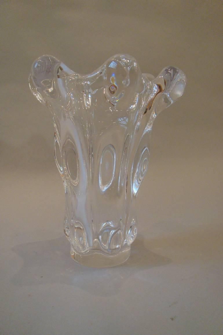 Tall crystal glass vase by Art Vannes, France, c1960