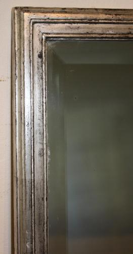 Antique French bistro silver rectangular bevelled glass mirror, c1900