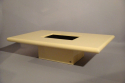 Cream lacquer coffee table designed and made by Jean Claude Mahey, France 1970 with original smoke glass interior - picture 1