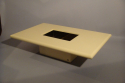 Cream lacquer coffee table designed and made by Jean Claude Mahey, France 1970 with original smoke glass interior - picture 4
