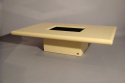 Cream lacquer coffee table designed and made by Jean Claude Mahey, France 1970 with original smoke glass interior - picture 5