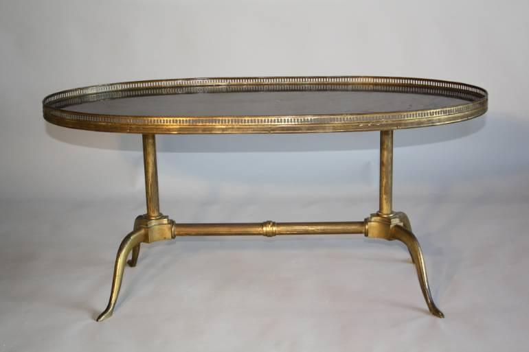 French 1950`s fossil marble and gilt metal occasional table.