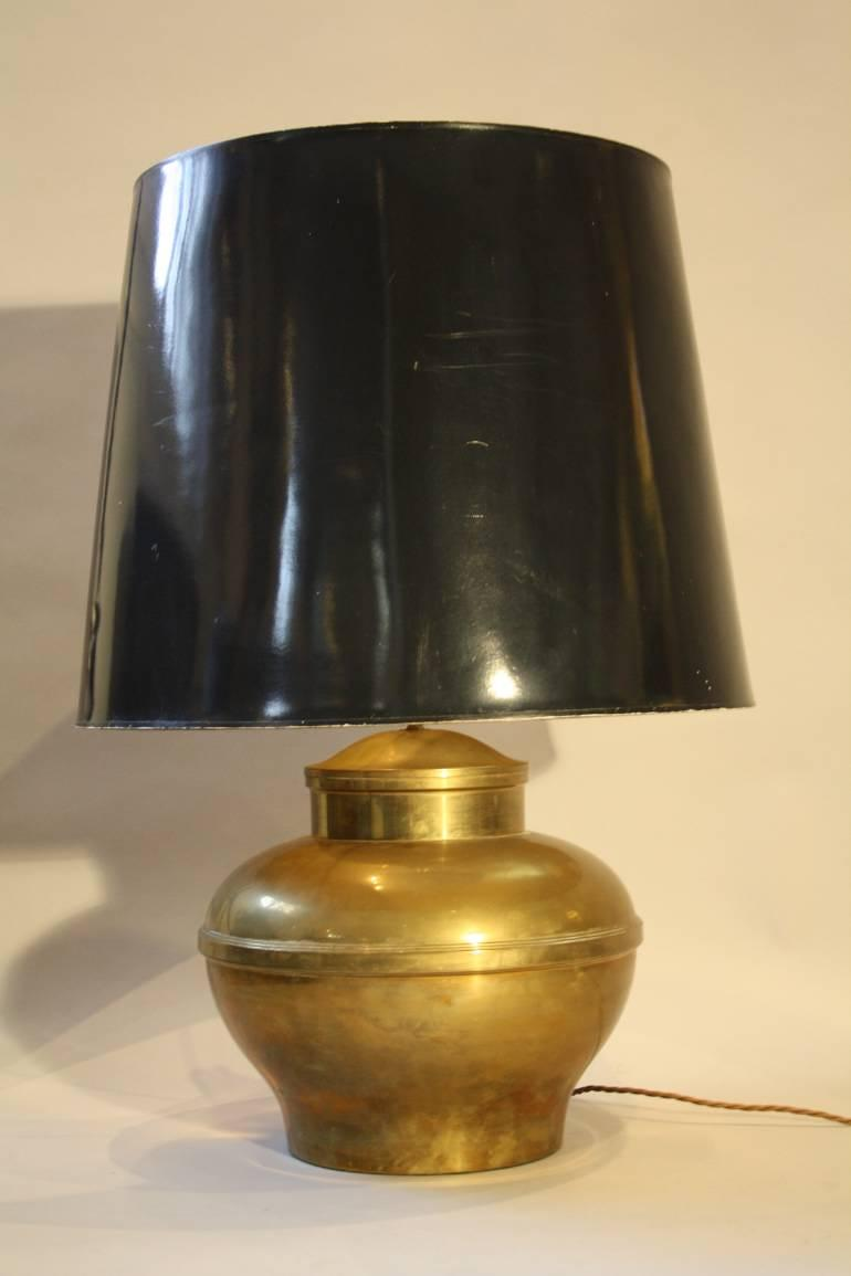 A large brass table lamp, French c1970