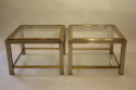A pair of silver and gold two tier side tables, French c1970 - picture 1