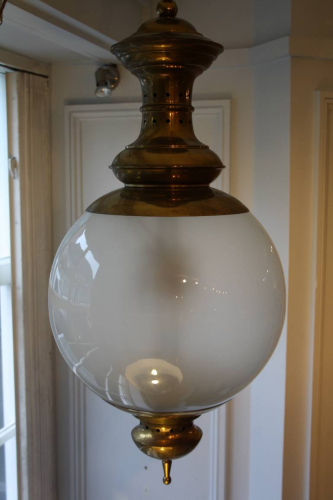 Opaque glass and brass ceiling light/hall lantern by Luigi Caccia Dominioni, Italian c1950