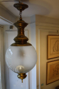 Opaque glass and brass ceiling light/hall lantern by Luigi Caccia Dominioni, Italian c1950 - picture 4