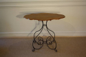 Scroll metal and walnut top centre/occasional table, French. - picture 1