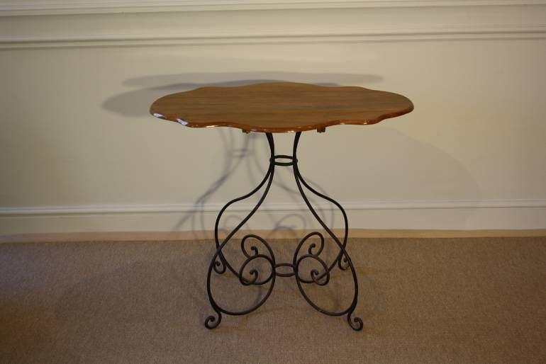 Scroll metal and walnut top centre/occasional table, French.