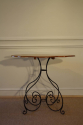 Scroll metal and walnut top centre/occasional table, French. - picture 4