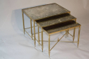 A brass framed nest of tables with antiqued glass. - picture 1