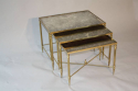 A brass framed nest of tables with antiqued glass. - picture 3