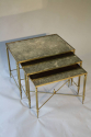 A brass framed nest of tables with antiqued glass. - picture 5