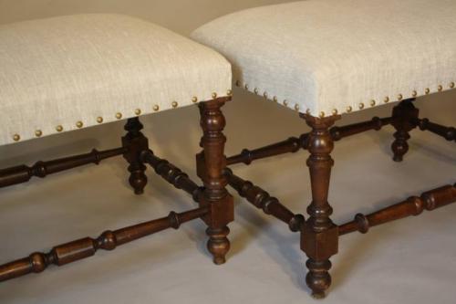 Pair of walnut stools