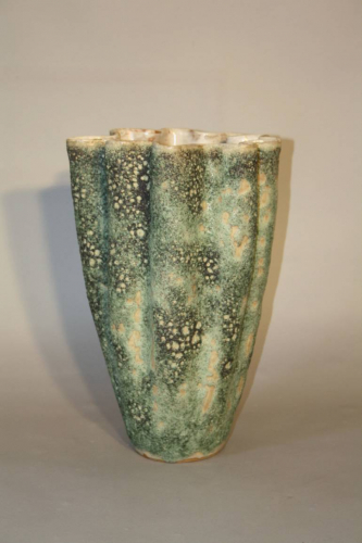A large hand thrown coil glazed terracotta vase, French c1970