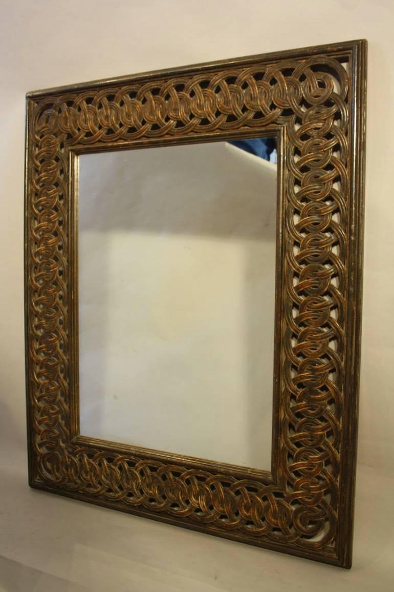 Florentine carved wood mirror