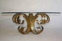 Gilt scroll metal and circular glass coffee table. Spanish c1960 - picture 1
