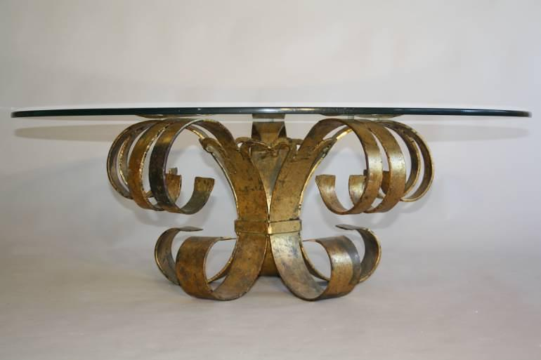 Gilt scroll metal and circular glass coffee table. Spanish c1960